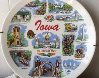 Vintage Iowa Souvenir Plate