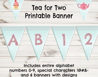 Tea for Two Birthday, Tea Party Banner,  Tea Party Decorations, Tea Party Birthday Decorations, Printable Birthday Banner,