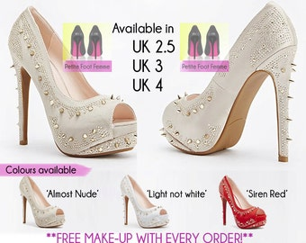 Studded and spiked, peep toe heels. UK Sizes 2.5, 3 & 4.