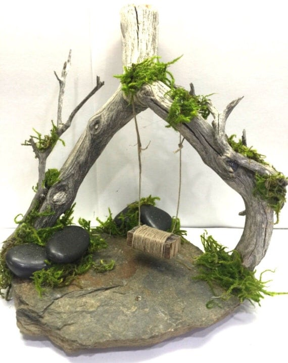 Swing rustic shabby chic fairy swing on slate by rusticredoo for Rustic fairy door