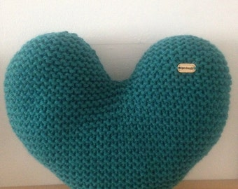 Handmade Hand Knitted Teal Heart-Shaped Decorative Cushion