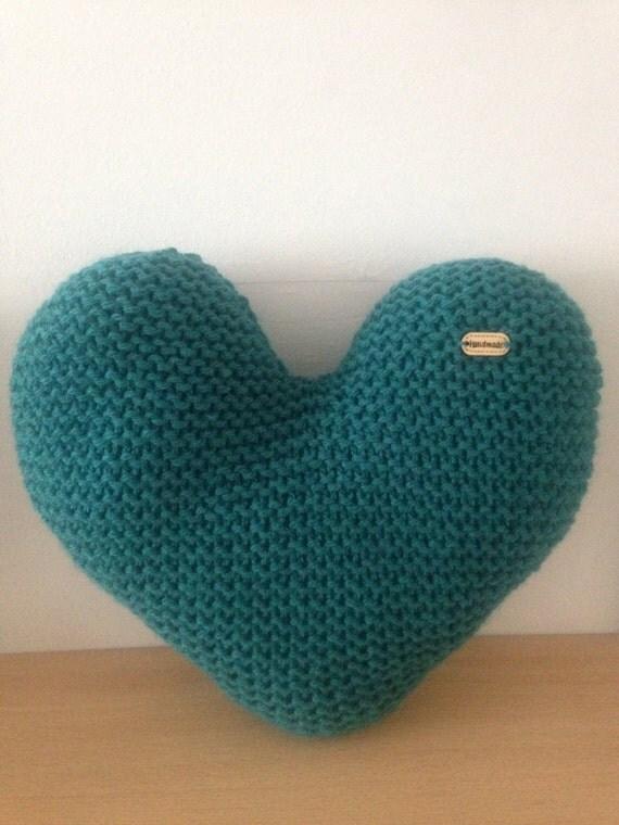 Knitting Pattern Heart Shaped Cushion : Handmade Hand Knitted Teal Heart-Shaped Decorative Cushion