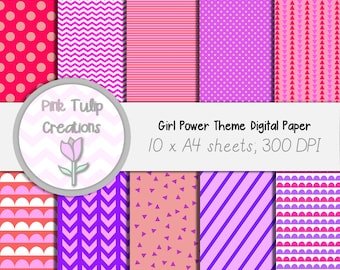 A4 Clip Art Backgrounds- Girl Power Theme x 10