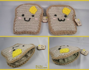 Bread Slice/Toast with Butter (Kawaii)/Coin Purse/Crocheted and Fimo charm