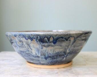 Blue and indigo swirl stoneware serving bowl | Large ceramic serving bowl