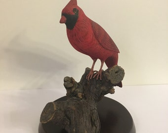 Hand carved and painted Northern Cardinal.