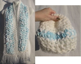 SALE!!! 50% Off!!! Baby Blue with White Supersoft Women's HAT & SCARF Set