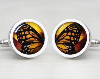 Vibrant Yellow Butterfly Wing Print - Round Cufflinks