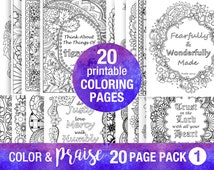 20 Pack Bible Verse Coloring Pages Inspirational Quote DIY Adult Coloring Party Floral Patterns Relaxation Christian Art Family Activities
