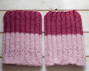 Women's boot socks Two ways to wear women's boot cuffs Knitted pink boot toppers Knit boot socks Knit leg warmers Alpaca wool leg warmer