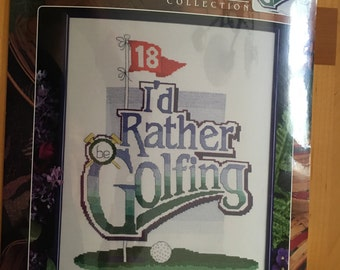 Counted Cross Stitch Kit, I'D RATHER be GOLFING by: Designs for the Needle