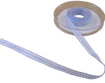Gingham Check Light Blue White Ribbon 10mm *4 Lengths*