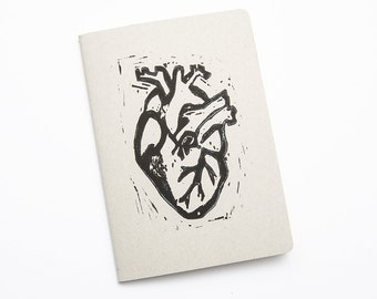 Notebook A5 gray with heart linocut