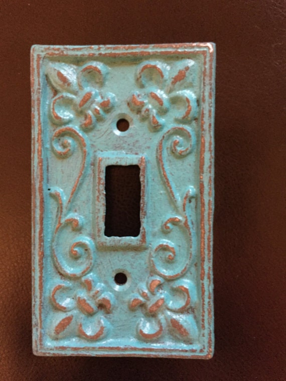 Hand painted cast iron light switch plate single painted - Wrought iron switch plate covers ...