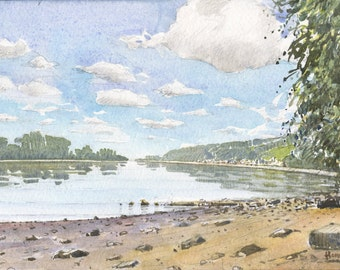 the seine in Villequier (watercolor)
