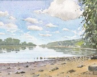 Landscape of the the Seine has villequier (low tide)