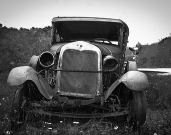 old car, photography, black and white