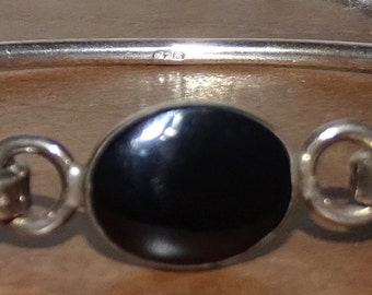 Sterling and onyx cuff bracelet