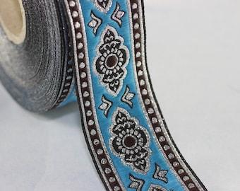 25 mm Sky Blue Renaissance Motive ribbon (0.98 inches) -  european ribbon -  dog colar ribbons - Sewing - Jacquard ribbon - Trim