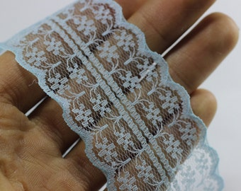 45 mm Light blue Lace trim  - Seam(1.77 inches) Binding hem tape chantilly lace trim for bridal, baby, lingerie, hair accessories  -
