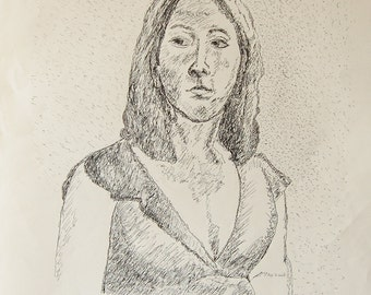 "A Young Lady Next Door pen & ink drawing by Miao Yeh, 23"" x 18"", portrait, portion of proceed supports Parkinson's reserach."