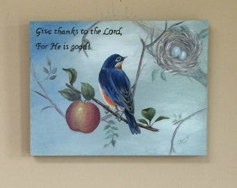Bluebird with nest, religious quote,red apple, blue background, home decor, wall art, acrylic painting, art and collectibles, nature