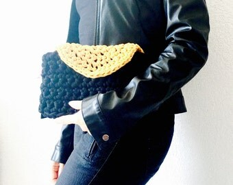 Clutch bag - crochet - two-tone cover