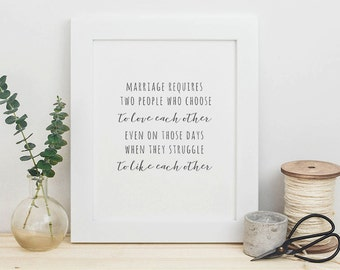 Typography Print - Love Quote Print - Marriage Art Print - First Anniversary Gift - Wedding Gift - Minimal Print - Wall Art - Home Decor