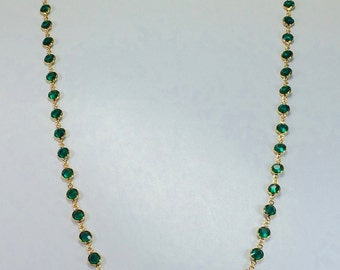 "Raindrops Necklace - Emerald/Gold 36"" Swarovski crystal"
