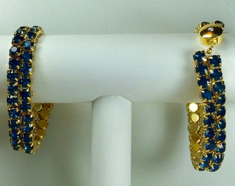Dark Greenish-Blue Glitterati Bracelet - Swarovski Crystals, Magnetic Clasp, Gold Plate