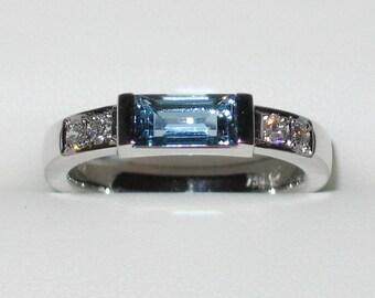 Aquamarin ring 750 / - white gold brilliant statement ring unique forged master work