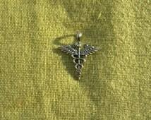 "Sterling silver pendant ""Caduceus"". Medical Caduceus."
