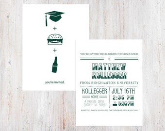 Graduation Party Invitation - Modern BBQ {Customized Printable Invitation}