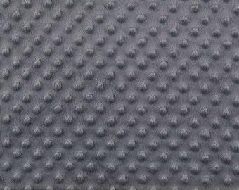 Charcoal Minky Fabric, Dimpled Minky Fabric by the Yard, Plush Minky Fabric Grey