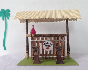 Dollhouse Miniature Furniture Tiki bar, Handmade, Vintage look, design