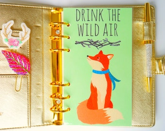 Drink The Wild Air Fox Personal, A5 & Pocket Planner Dashboards