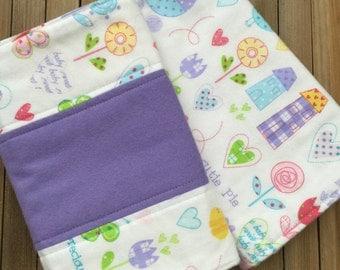 Baby Girl Flannel Burp Cloths, Flannel Burp Rags, Baby Burping,  Baby Shower Gift