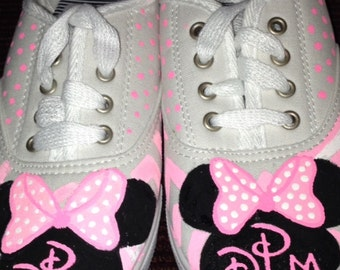 Minnie Mouse Hand Painted Shoes with Initials