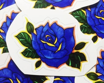 Blue Rose Vinyl Sticker