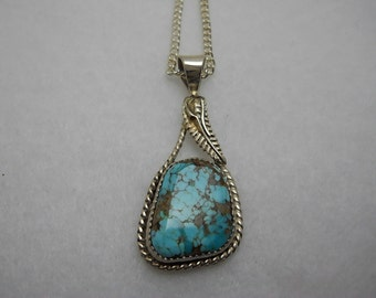 Beautiful Kingman Turquoise Pendant set in Sterling Silver