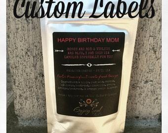 Custom Label, Loose Leaf Tea, Party Favors, Bridal favors, Wedding favors, Custom printed, fruit tea, loose tea