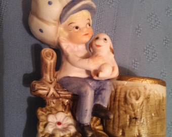 Vintage Little Luvkins Holly Hobby-like Girl with Puppy Votive Candle Holder. 1970's