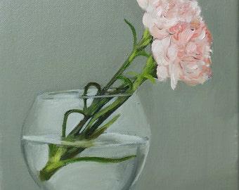 Single Carnation Oil Painting, Flowers, Original Artwork, Still Life