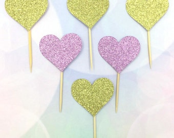 Set of 12 love heart cake toppers, love heart cupcake toppers, glitter topper, heart shape topper