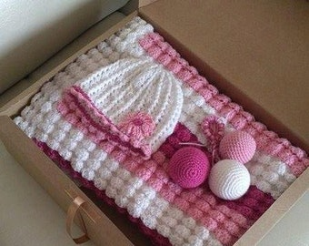 Baby Set, Knitted Baby Set, Pink And White, Baby Blanket, Crochet Blanket, Knitted Baby Hat, Wool and Bamboo Baby Blanket, Baby Shower Gift