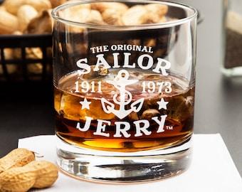 2pcs - Sailor Jerry - Engraved Whiskey Glasses - Rocks Glasses - DGI147-RG11OZ