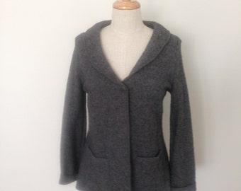 Ladies boiled wool shawl neck jacket