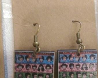 Handmade Découpage Rolling Stones Earrings
