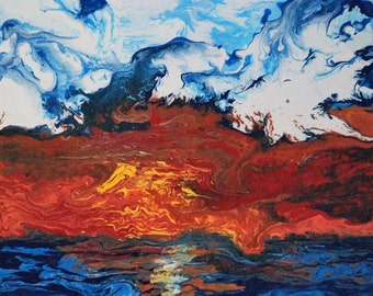 Original Abstract Painting, Red, Blue, Yellow and White