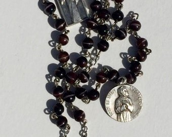 Vintage Rosary w/ Glass Beads and Charms